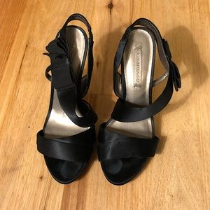 BCBGMaxAzria Satin Heels w/ Leather Sole - Size 8